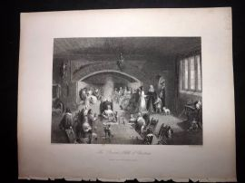 After Melville 1846 Antique Print. The Baron's Hall at Christmas